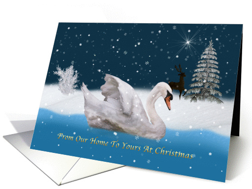 Christmas, From Our Home, Snowy Night with A Swan on a Lake card