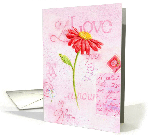 Valentine's Day Religious Love Letters Red Daisy card (1349992)