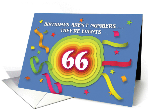 Happy 66th Birthday Celebration with confetti and streamers card