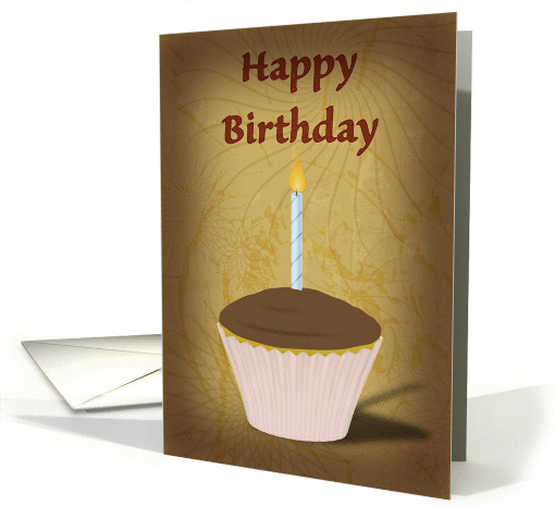 Happy Birthday, cupcake illustration with candle card (904018)
