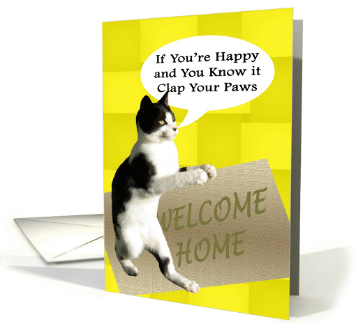 Happy Cat Welcome Home card (449396)