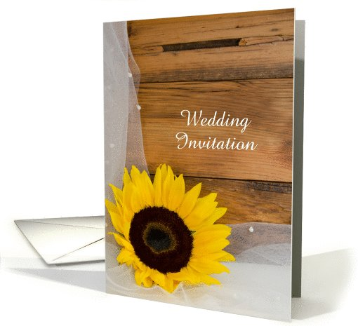 Wedding Invitation, Yellow Sunflower and Veil, Custom Personalize card