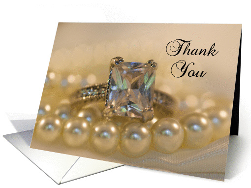 Wedding Thank You Note Princess Cut Diamond Ring and Pearls card