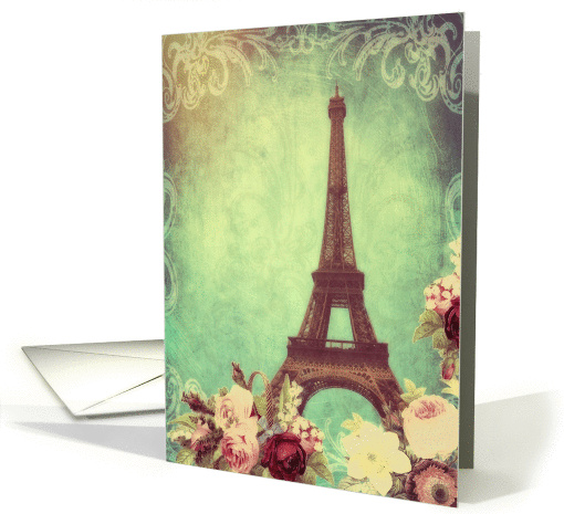 Blank note card, Eiffel tower Paris, vintage look card (1294010)