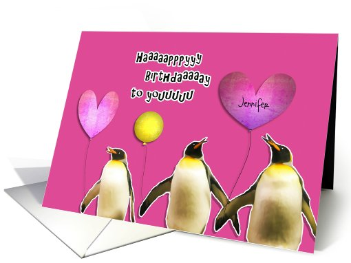 Happy Birthday, customizable card, penguins with balloons card