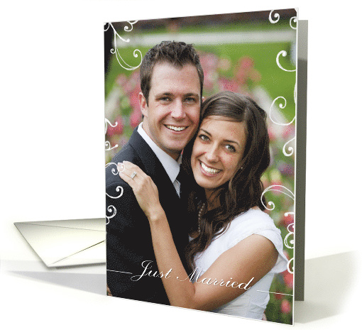 just married, photo card, contemporary, elegant card (891339)