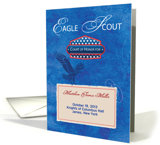 Eagle Scout Court of Honor Ceremony Program, Blue, Shield card