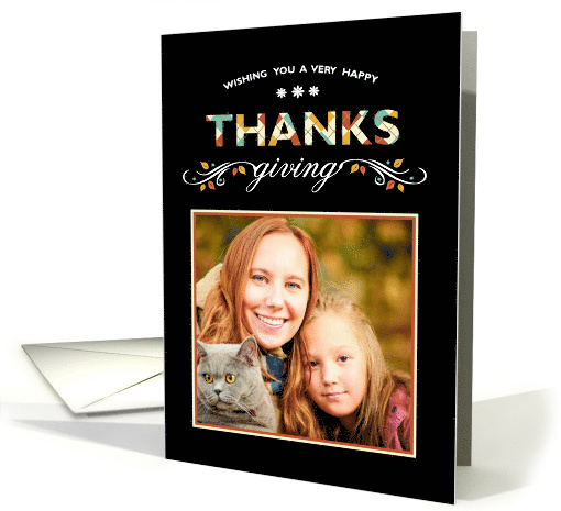 Photo Thanksgiving Card on Black card (1178222)