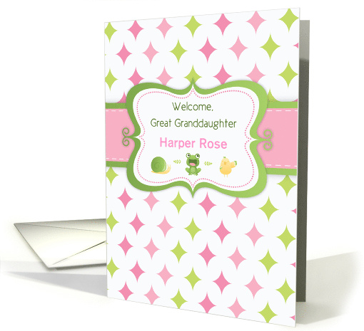 Custom Name Great Granddaughter, New Baby Welcome with Animals card