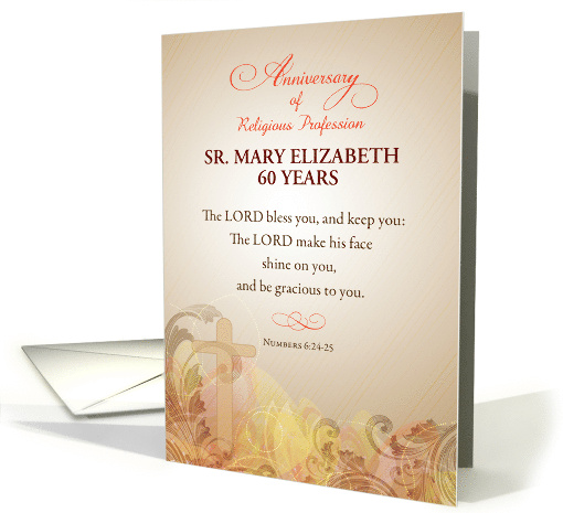 Custom Name & Year Nun, 60th Anniversary of Religious Profession card