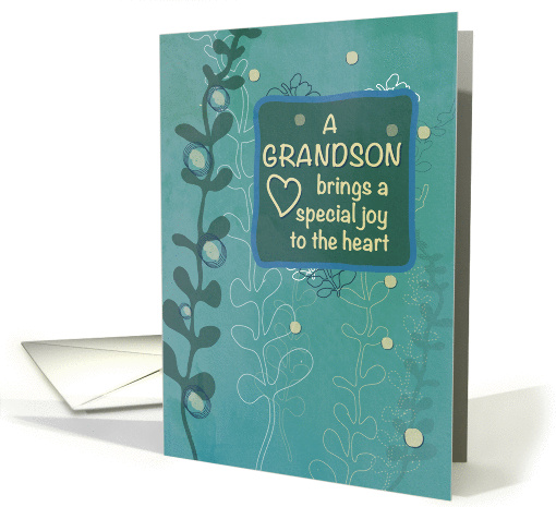 Grandson Religious Birthday, Green Hand Drawn Look card (1383092)