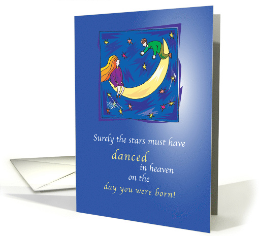 Daughter or Son Birthday, Moon with Stars card (150889)