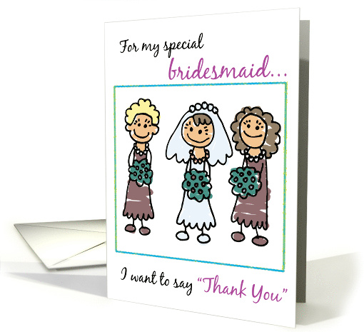 Thank You to Bridesmaid with Stick Figures, Wedding card (198994)