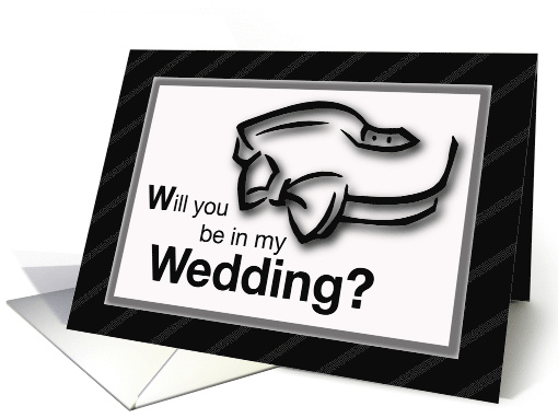 Wedding Invitation with Bow Tie in Black and White card (204263)