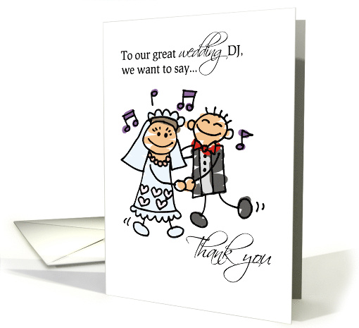DJ Wedding Reception Thank You with Stick Figures card (209088)