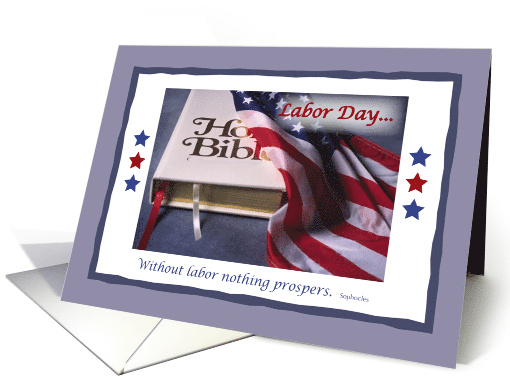 Labor Day with Holy Bible and American Flag, Religious Christian card