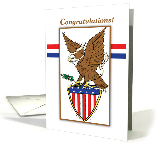 Congratulaations for Eagle Scout with Eagle and American Flag card