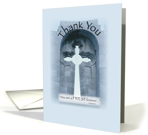 Thank You for Priest with Cross and Stone, Religious card (259659)