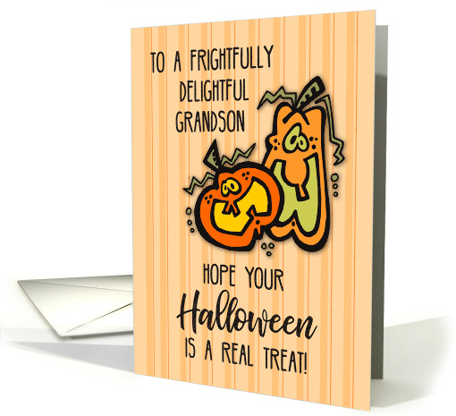 Grandson on Halloween with Orange Pumpkins card (264340)