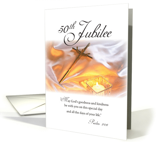Golden Jubilee Religious Life with Crucifix & Candle, 50th... (457783)