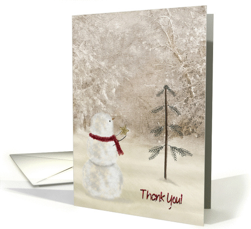 Thank You holiday with snowman and gold star card (1005037)