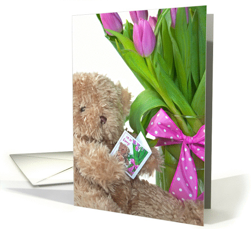 I'm Sorry-teddy bear with pink tulip bouquet card (1040649)