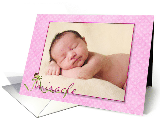 Baby Girl Birth Announcement pink polka dot photo card (1081968)