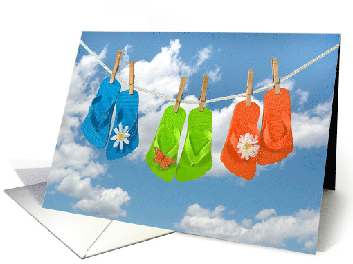 Friend's Birthday colorful flip-flops on a clothesline card (1101374)
