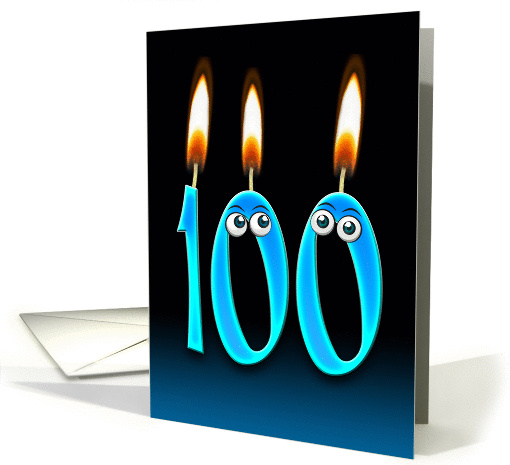 Grandpa's 100th Birthday humor with candles and eyeballs card