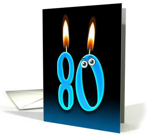Grandpa's 80th Birthday humor with candles and eyeballs card (1140704)