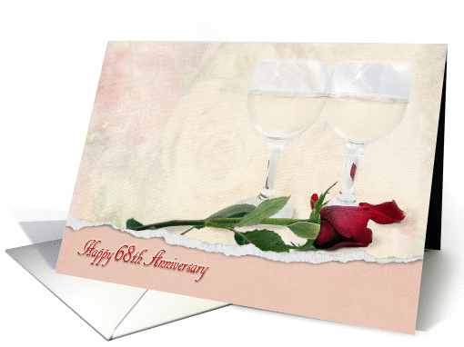68th Anniversary for Couple with red rose and wine glasses card