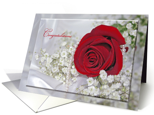 Niece and husband Wedding red rose with pearls and baby's breath card