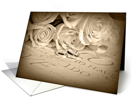 wedding congratulations for Sister-roses and rings in sepia card