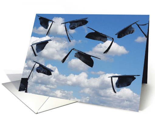 black graduation hats airborne in sky for high school graduate card