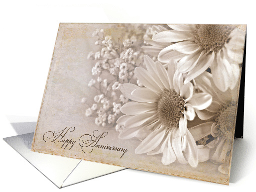 wedding anniversary with daisy bouquet and sepia texture overlay card