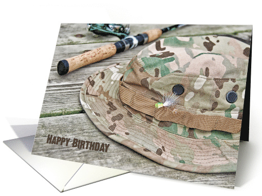 Birthday for him, fishing hat and pole on rustic wood card (638016)