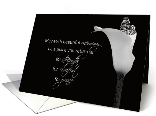 Sympathy butterfly in calla lily in black and white card (646427)