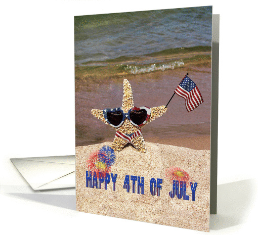 4th of July star party invitation with starfish card (931174)