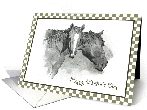 Happy Mother's Day: Pencil Drawing Of Horse And Foal card (616811)