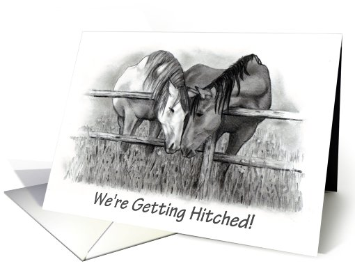 We're Getting Hitched! Horses in Pencil card (746429)