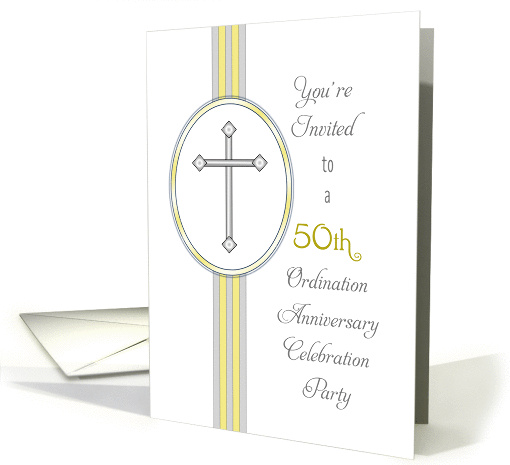 50th Ordination Party Invitation-Religious Life-Cross card (1099018)