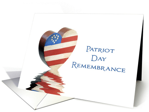 Patriot Day Remembrance Card-Patriotic Heart & Reflection-9/11 card