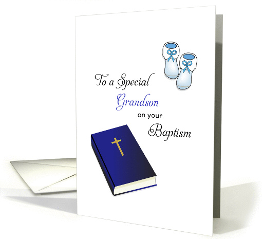 For Grandson Baptism Card-Bible, Cross and Baby Booties card (1177028)