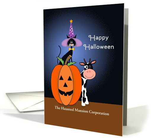 Halloween Card Customizable Text-Cat-Witches Hat-Pumpkin and Cow card