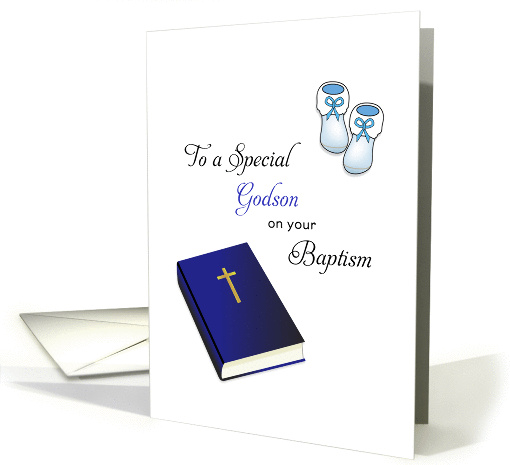 For Godson Baptism Card-Bible, Cross and Baby Booties card (1193360)