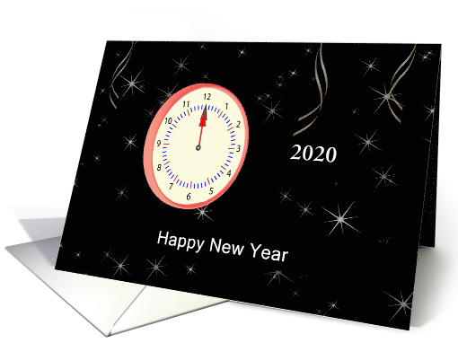 Business New Year's Card with Clock-Custom card (706623)