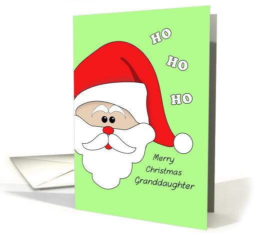 Merry Christmas Greeting Card for Granddaughter-Santa Claus Face card