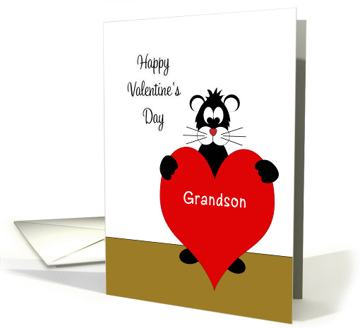 For Grandson Valentine's Day Card-Black Cat Holding Red Heart card