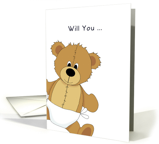 Be My Godfather Christening / Baptism Greeting Card-Bear... (921528)
