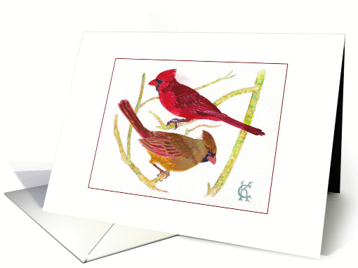 Cardinal birds male female couple watercolor Catinka Knoth card